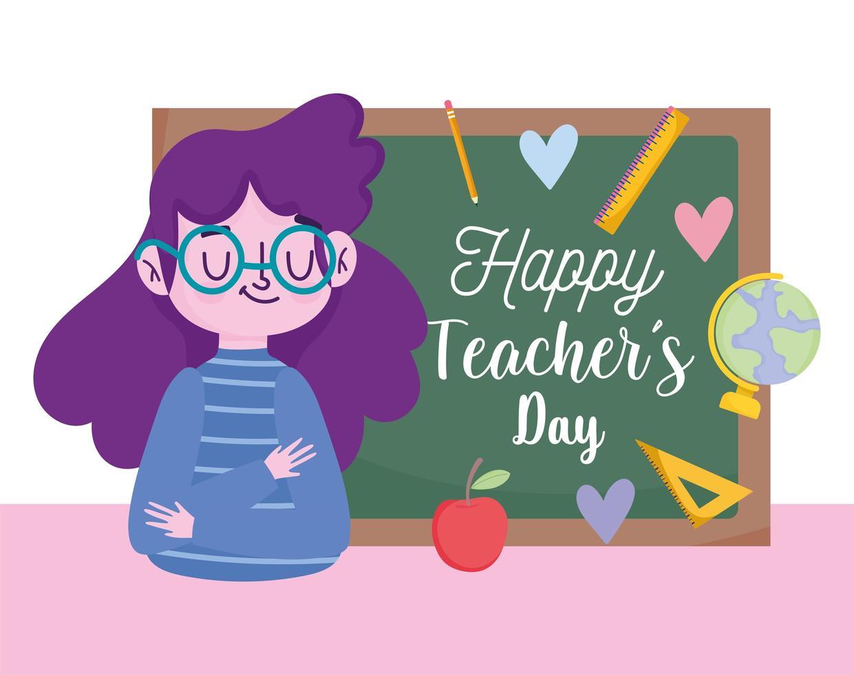 feliz dia del maestro, joven maestro y pizarra vector