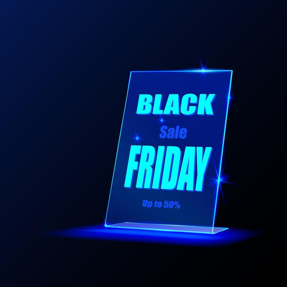 cartel de promoción de viernes negro de vidrio vector