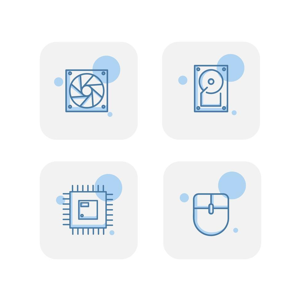 Creative blue computer component icons vector