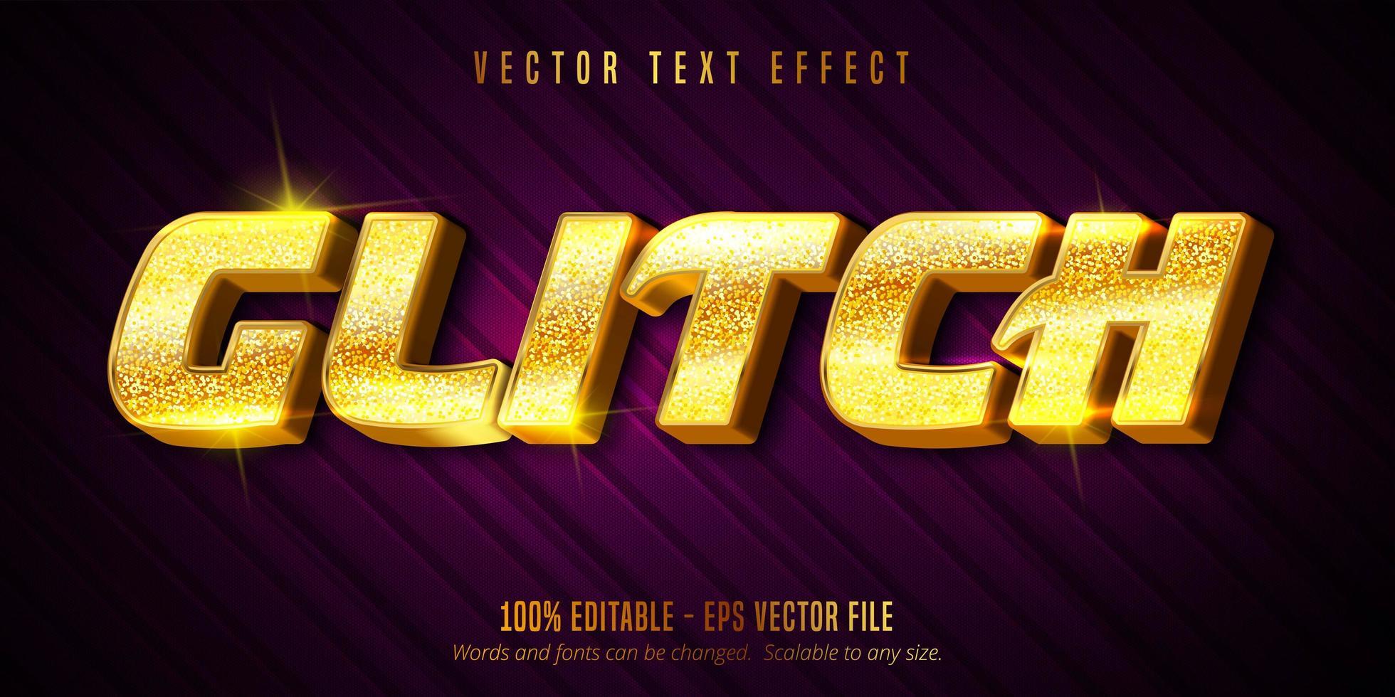 Glitch luxury golden editable text effect vector