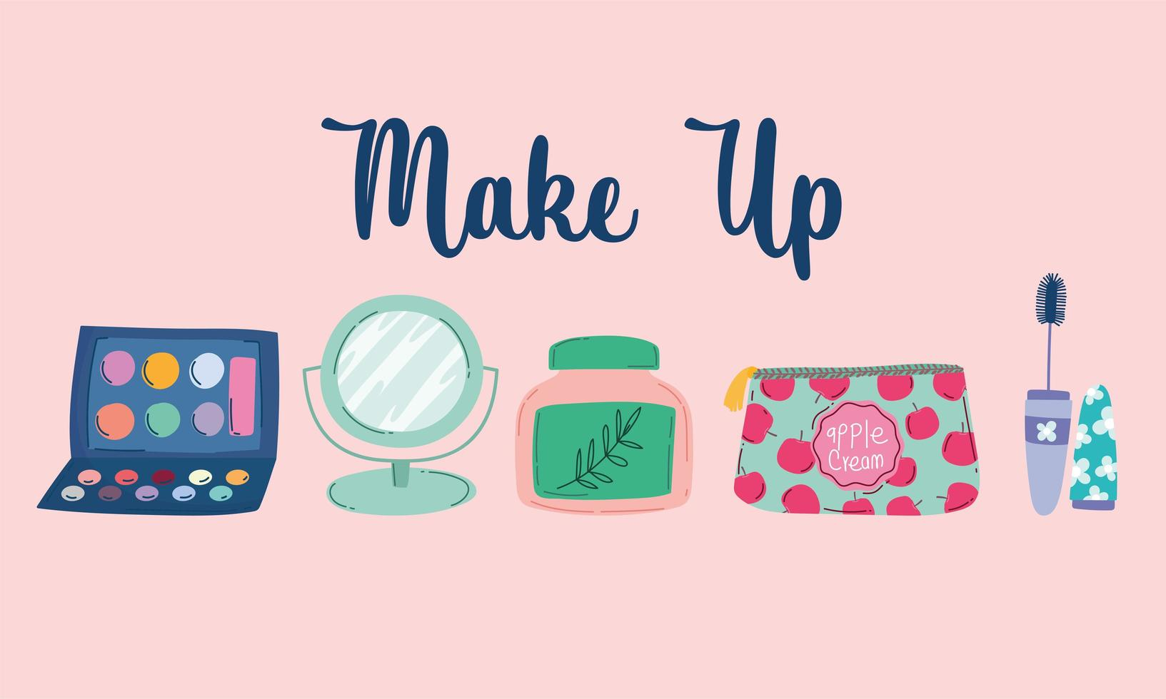 Make-up and beauty products icon set vector
