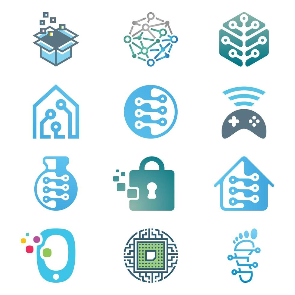 Technology and Network Logo Set vector
