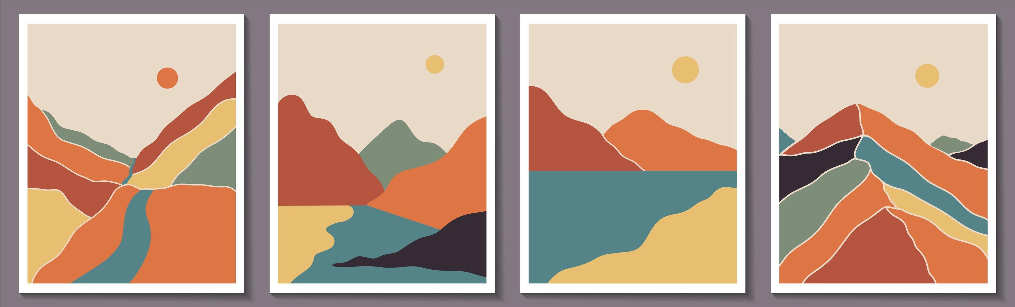 Boho contemporary landscape posters vector