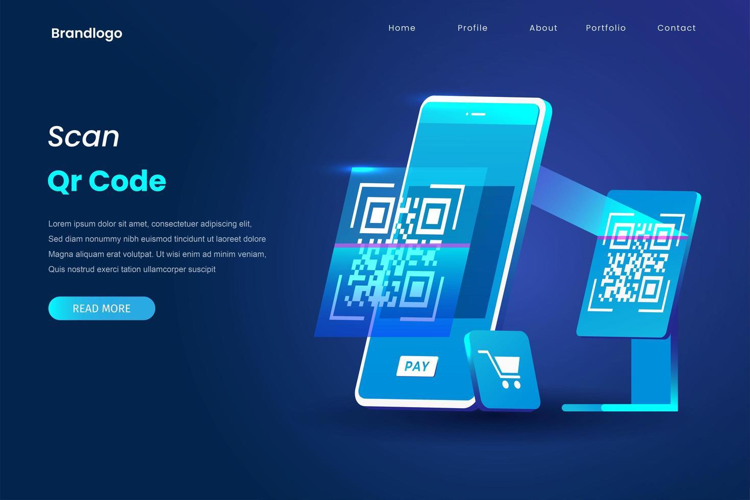 página de inicio de pago con código qr vector