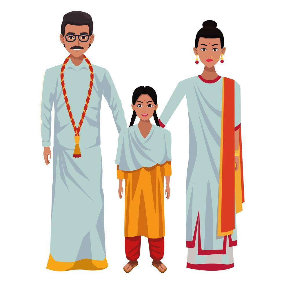 Indian family avatar cartoon characters vector