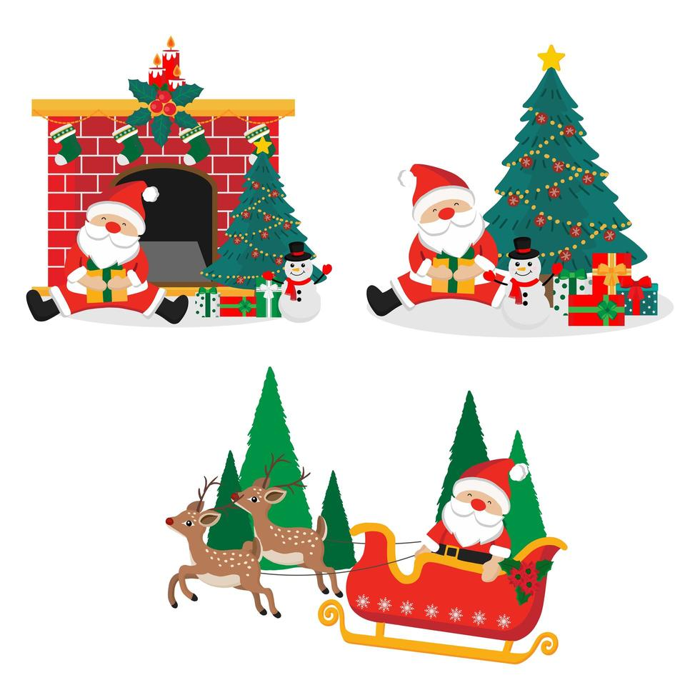 Merry Christmas set with Santa Claus vector