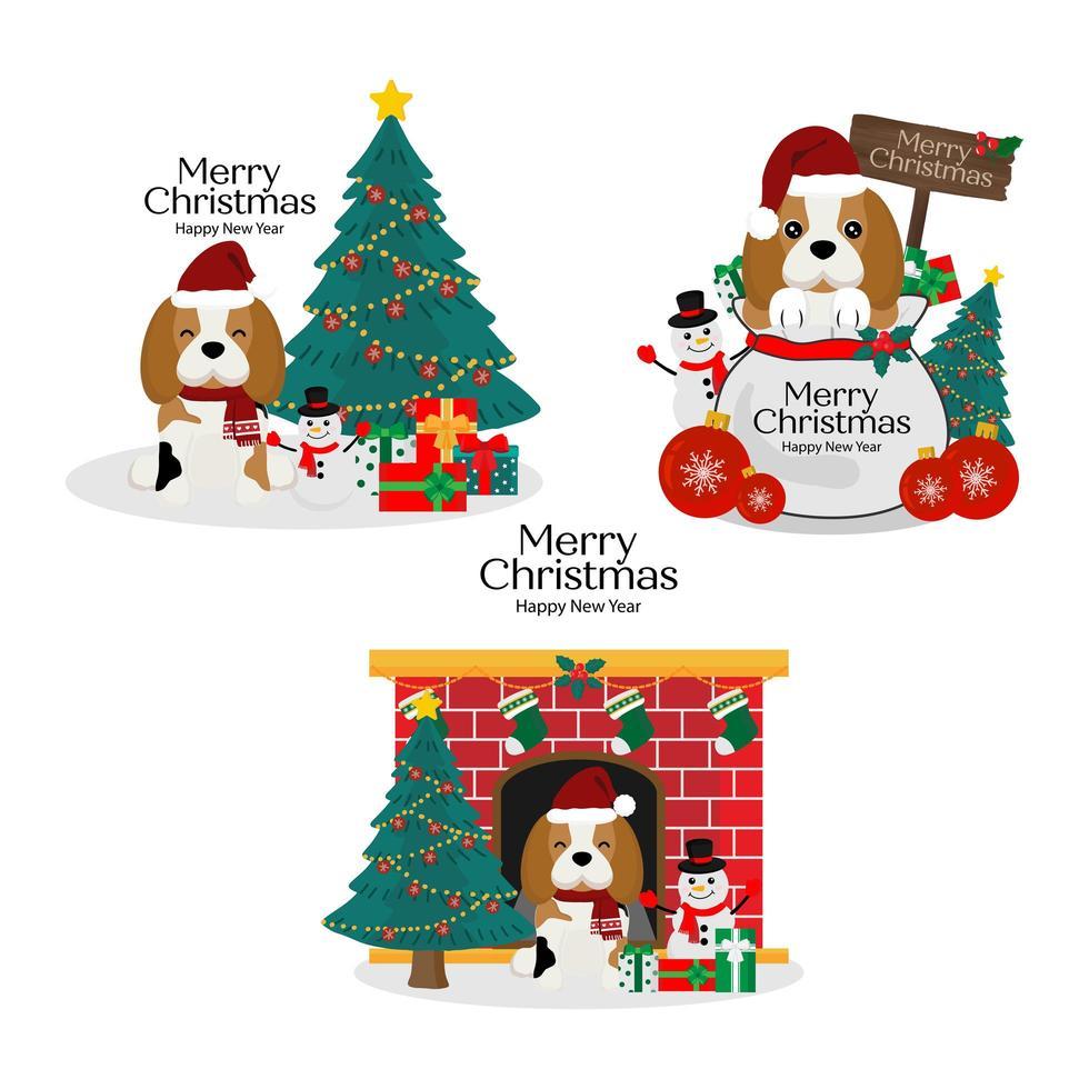 navidad con lindo perro con sombrero de santa vector