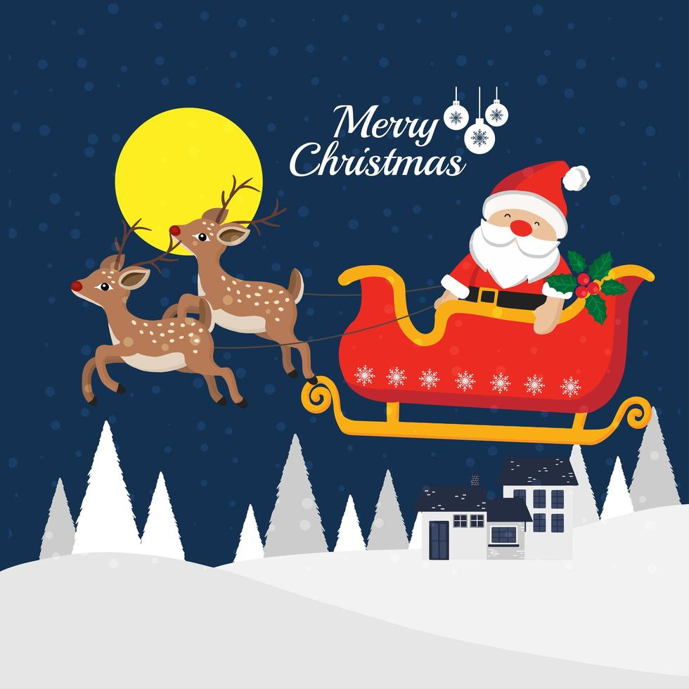 Christmas greeting card with Santa Claus in sleigh vector