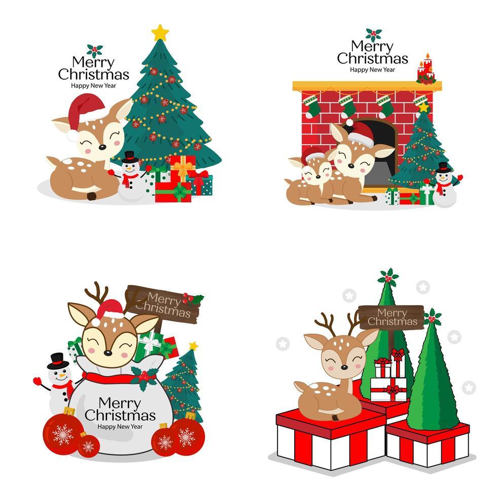 Christmas and new year cute deer cartoon set vector