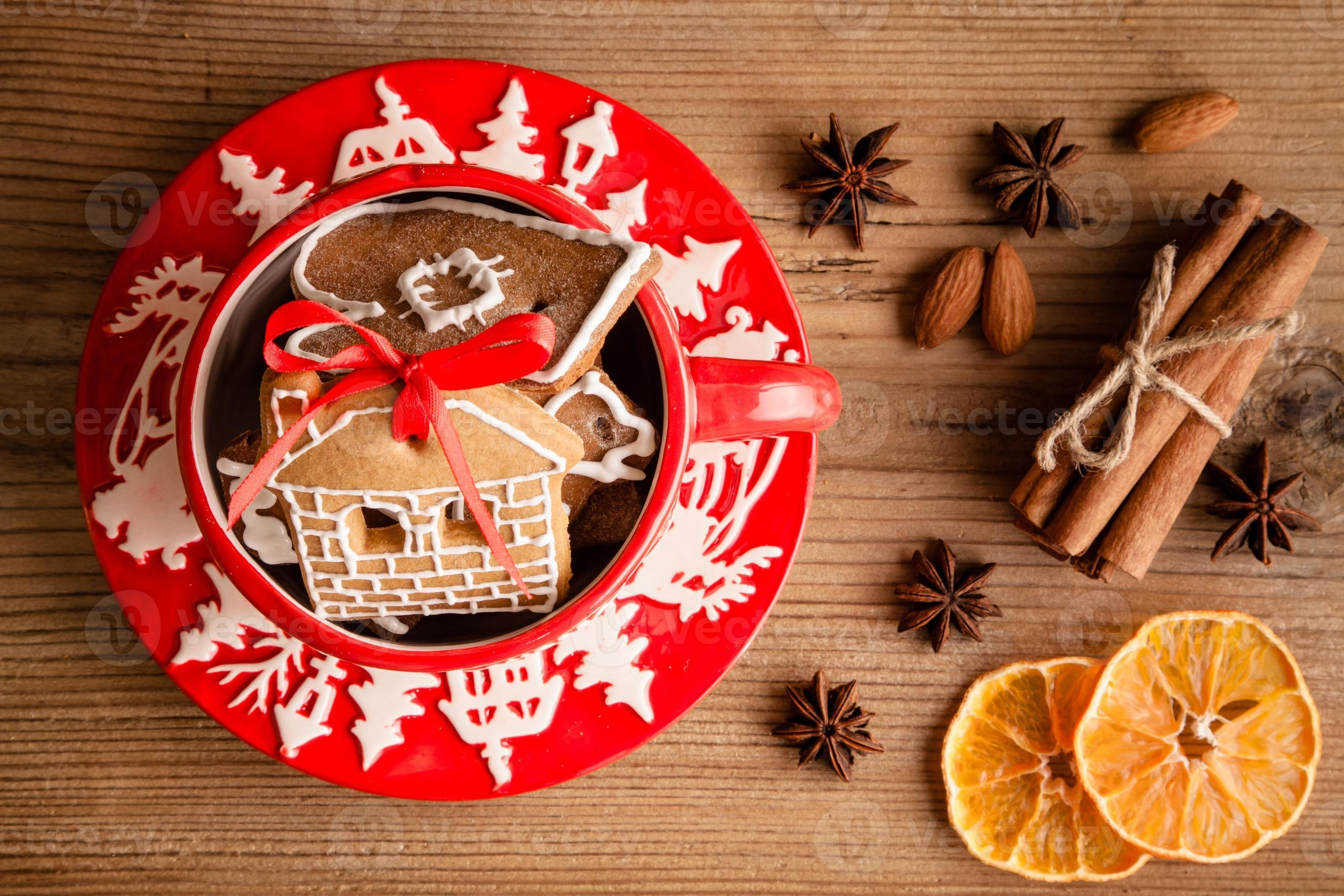 Ginger Cookies In A Red Christmas Mug Stock Photo