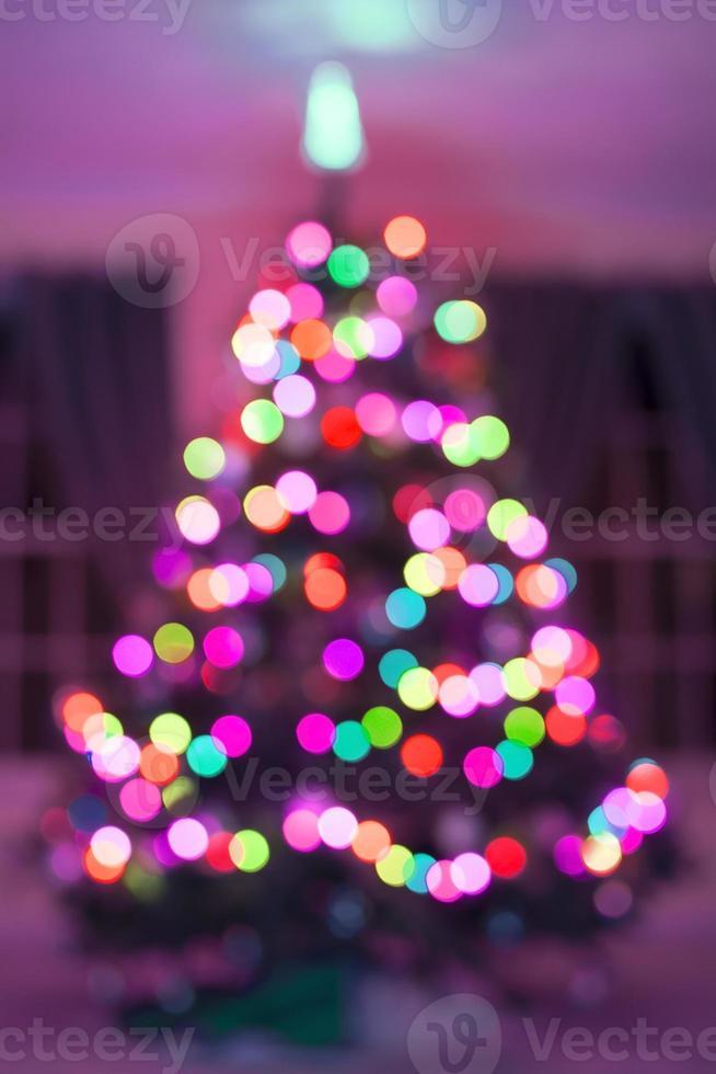 Christmas tree light bokeh on for background photo
