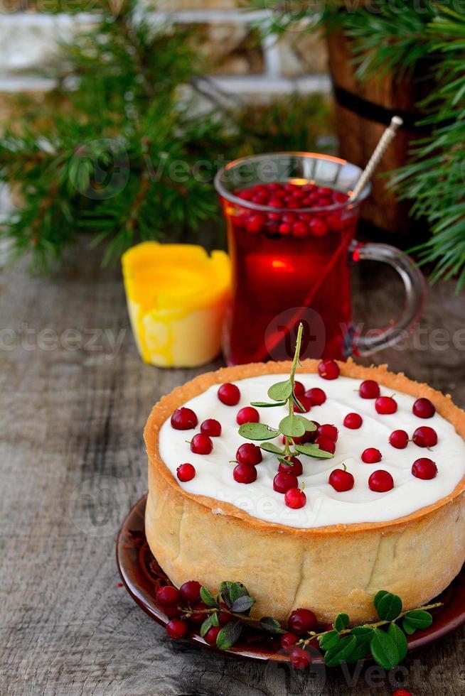 tarta de queso de chocolate blanco con arándanos foto