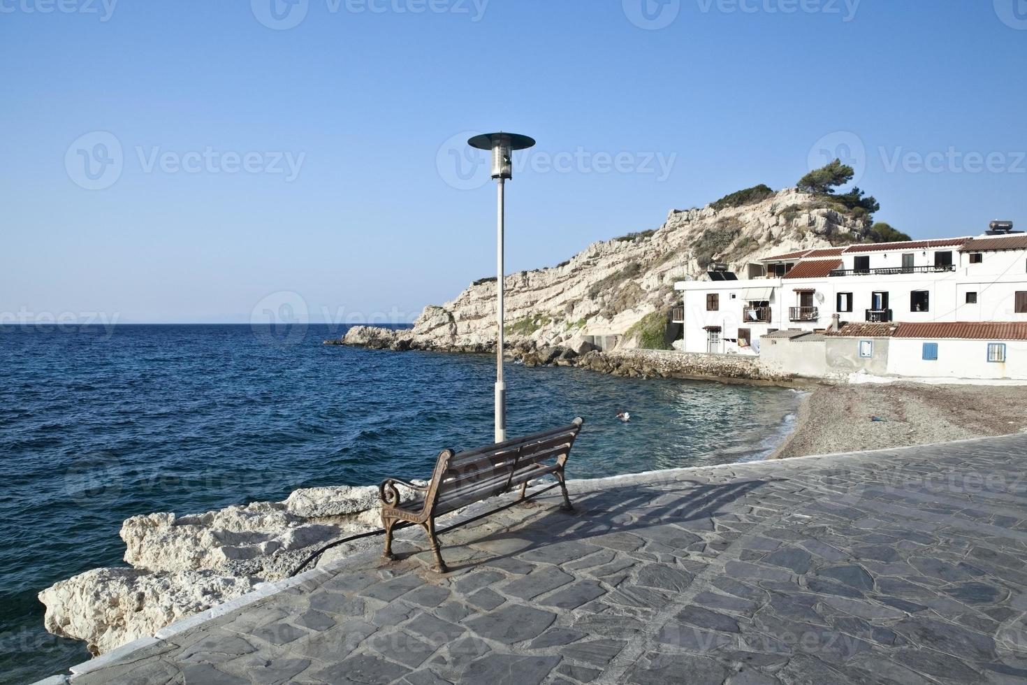 Beach in the town of Kokkari, Samos, Greece photo