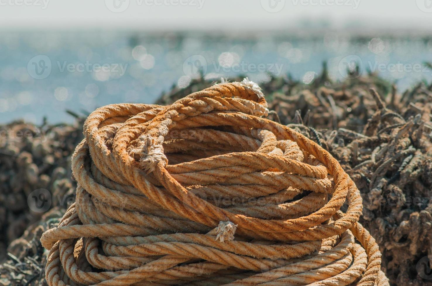 Old rope on fishing harbour photo