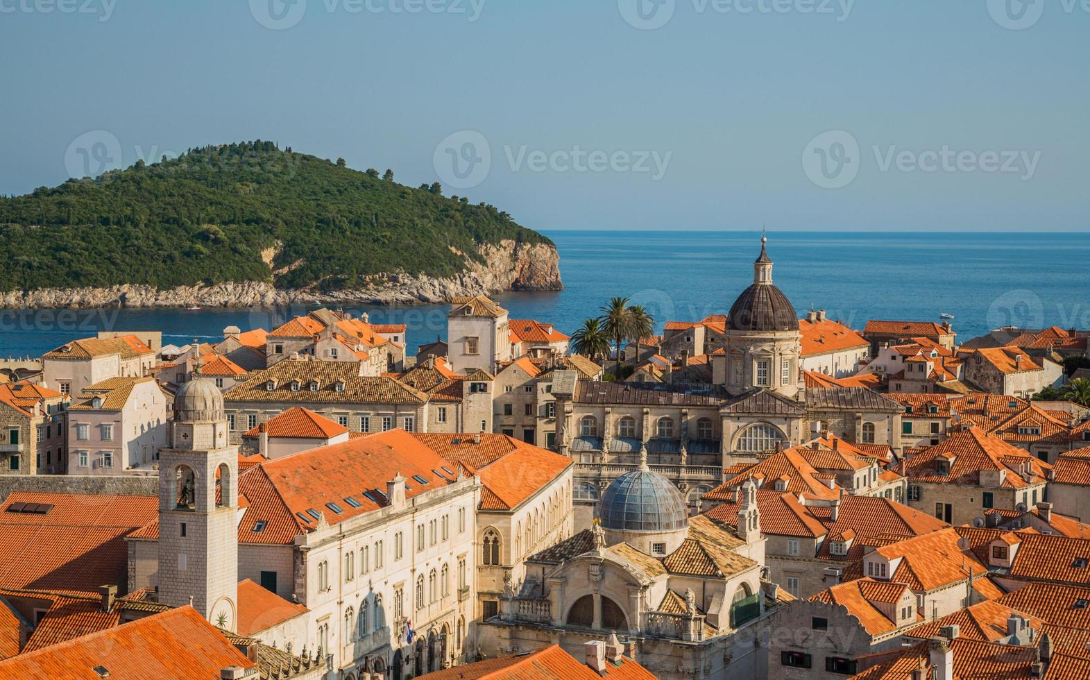 Distant building inside the old town of Dubrovnik photo