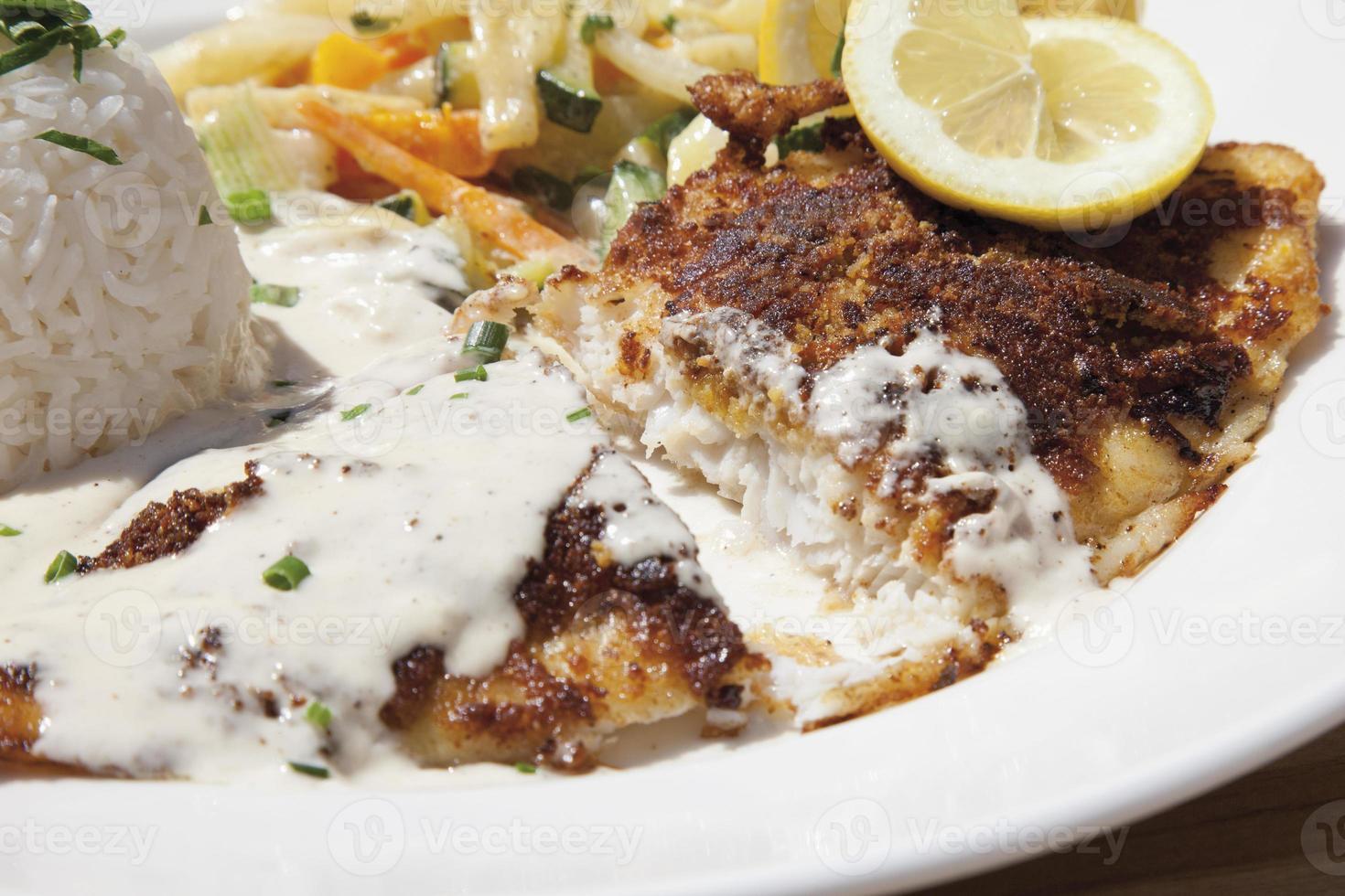 Fried deep sea perch, fragrant rice, cream sauce photo