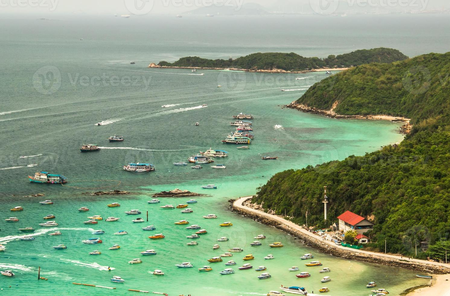 Speed boats on sea water in kho Lan. Thailand photo