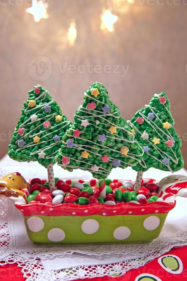 Rice crispy bars decorated for Christmas photo