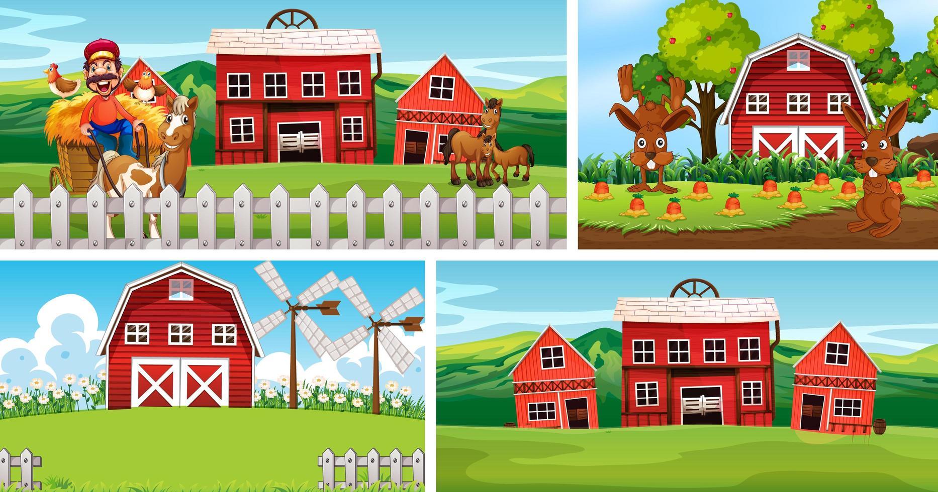 conjunto de diferentes escenas de la granja. vector
