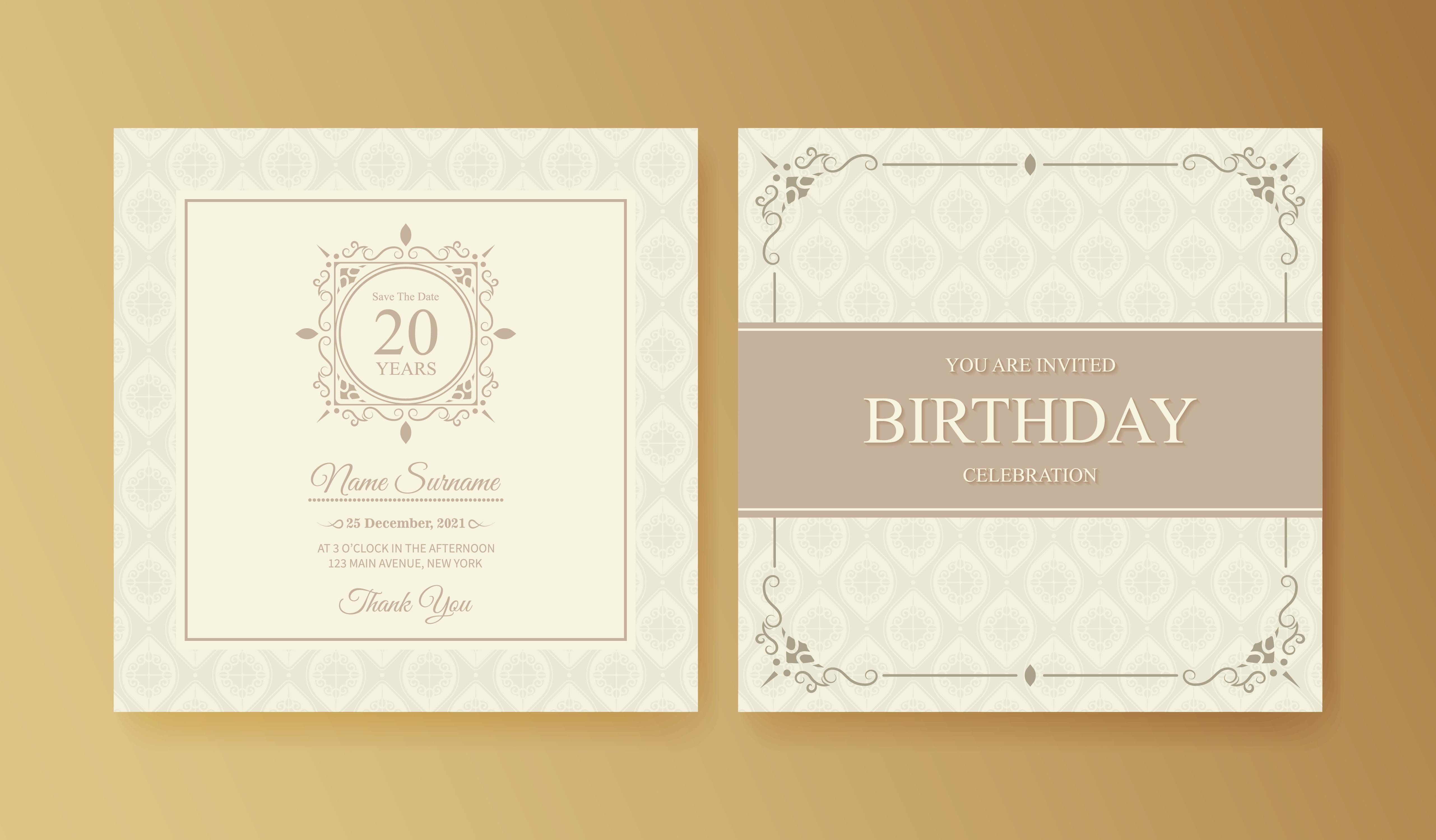 Elegant birthday invitation template - Download Free Vectors
