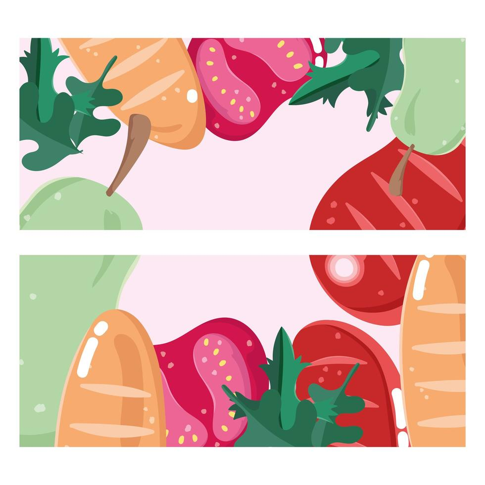 pancarta de pan, pera, tomate y carne. vector
