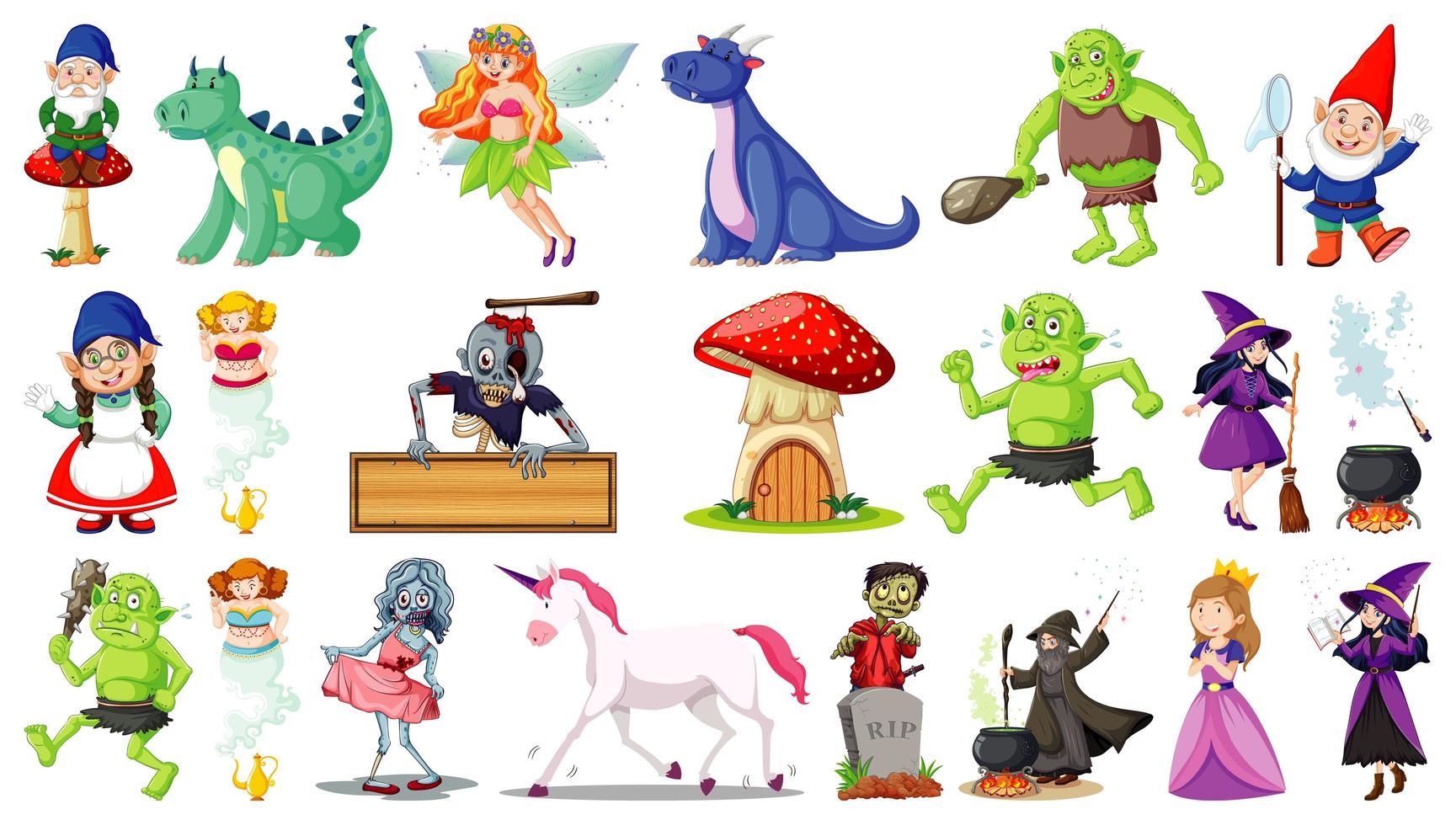 personajes de dibujos animados de fantasía sobre fondo blanco vector