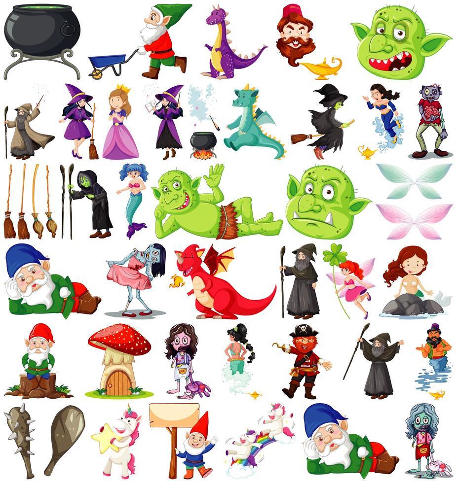 personajes y tema de fantasía aislado sobre fondo blanco vector