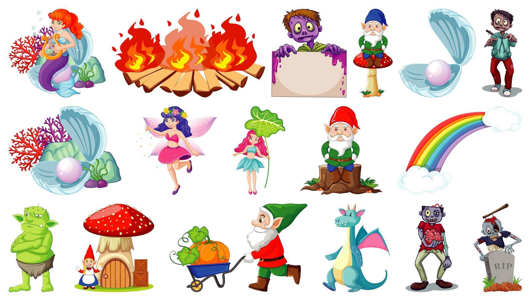personajes de dibujos animados y tema de fantasía aislado sobre fondo blanco vector