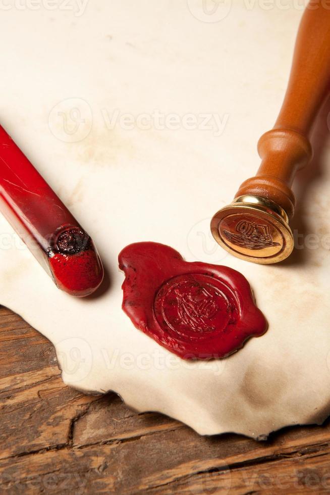 Closeup of wax seal photo