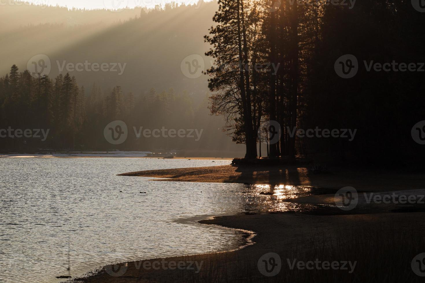 Sunset at a Sierra Nevada mountain lake photo