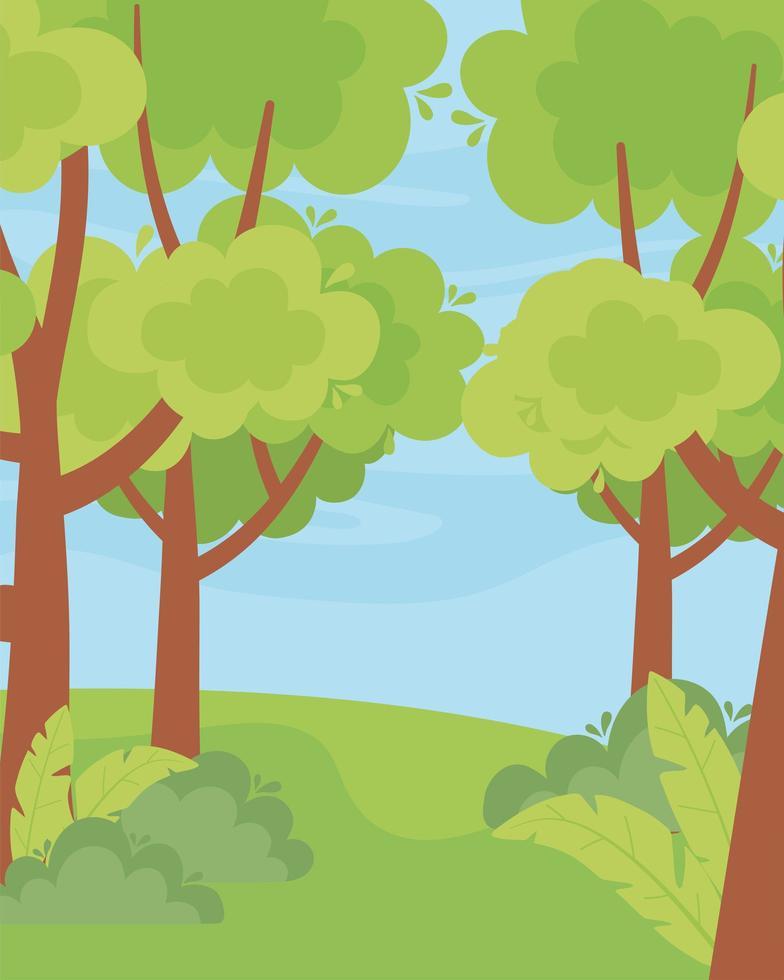 paisaje verde árboles, arbustos, hierba y cielo vector