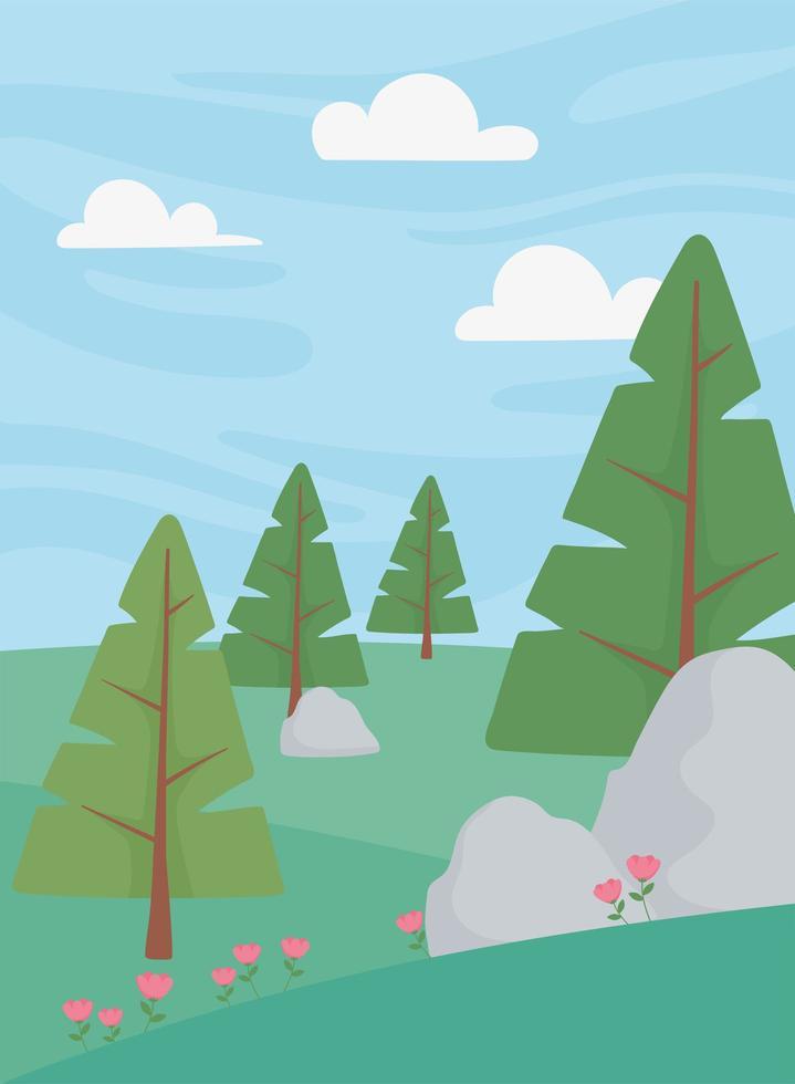paisaje, árboles, flores, campo, piedras y cielo al aire libre vector