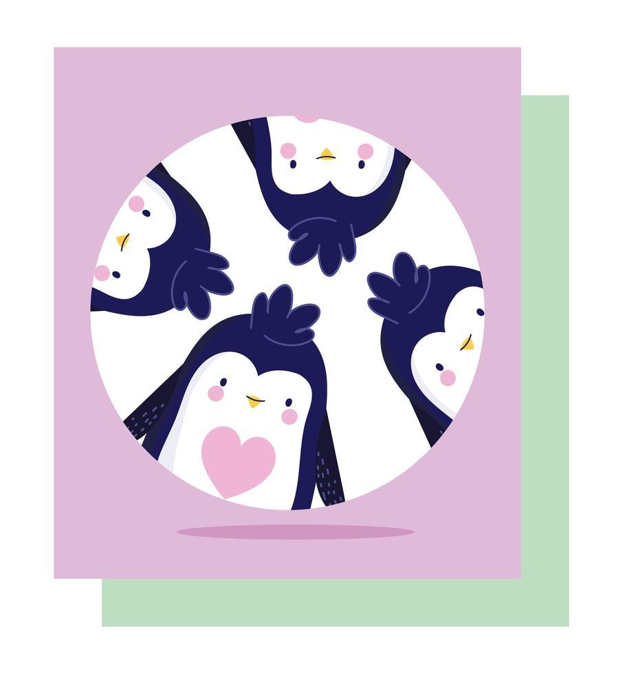banner de personajes de dibujos animados de pingüinos divertidos vector