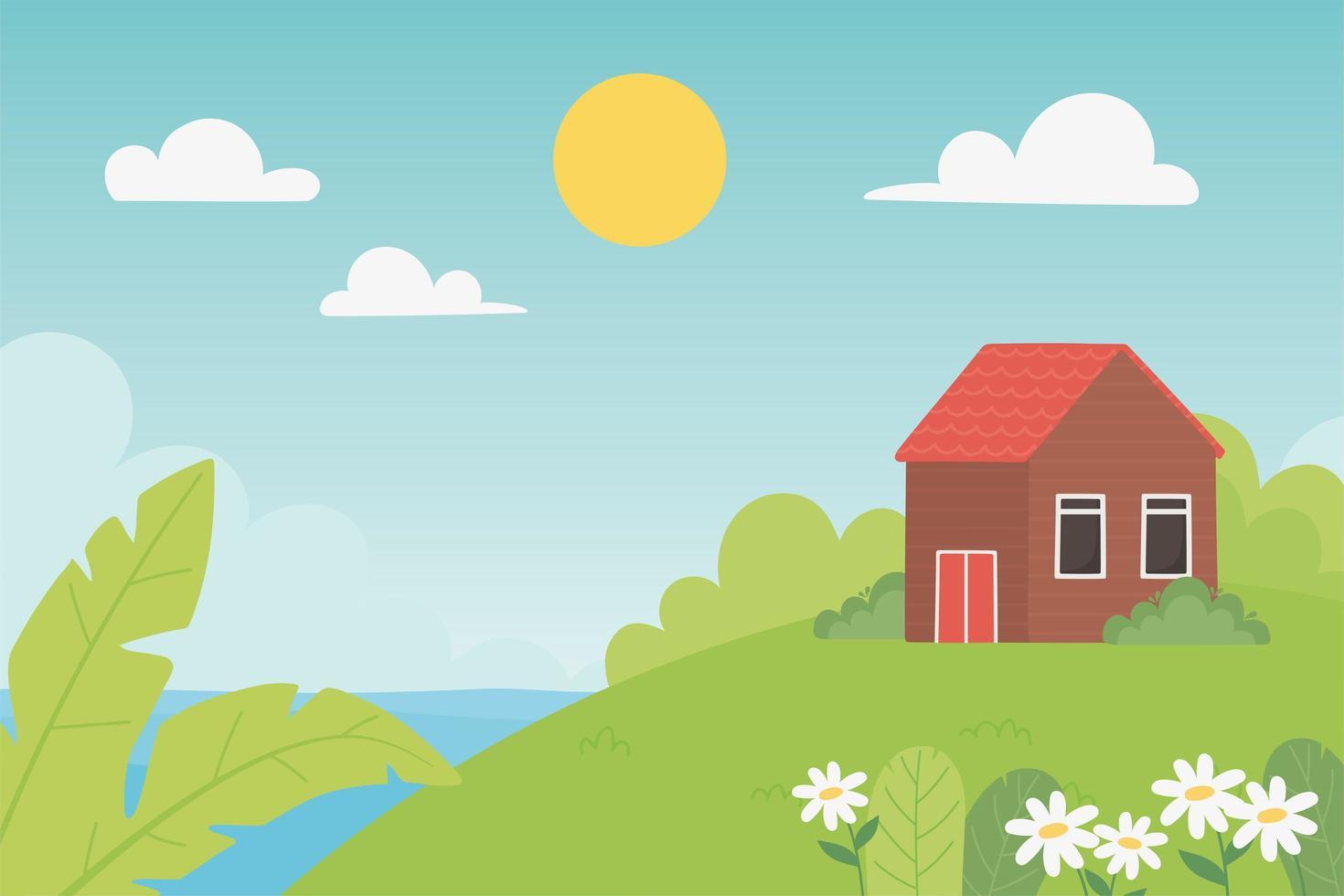 paisaje campo casa, prado, flores y hojas vector