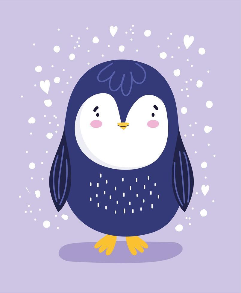 pingüino con corazones y nieve vector