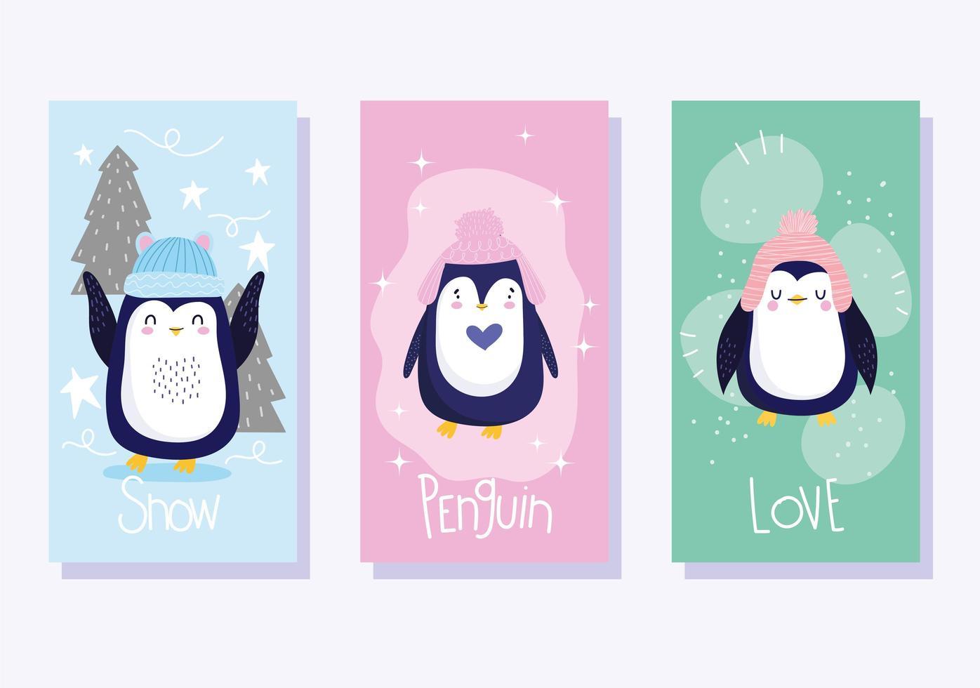 pingüinos con sombreros y banner de árboles. vector