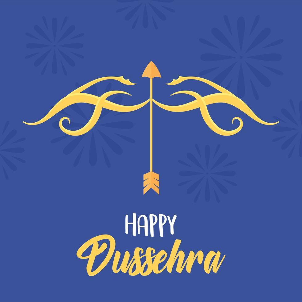 feliz festival de dussehra. flecha de oro y arma de arco vector