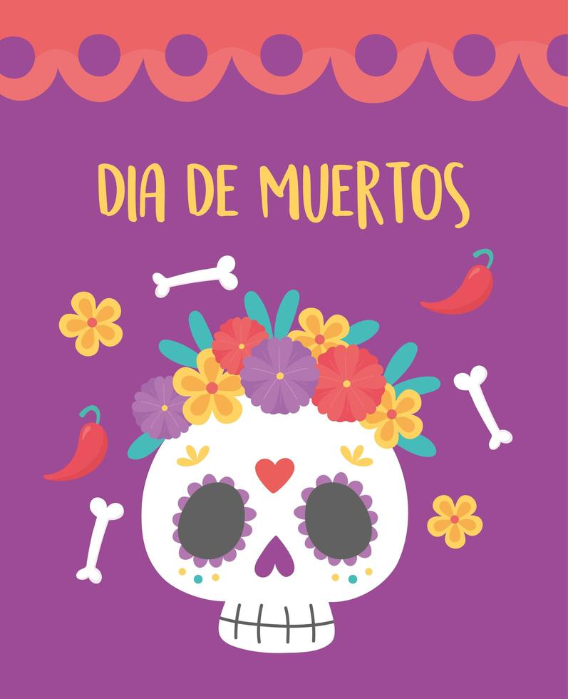 Day of the Dead celebration with sugar skull vector