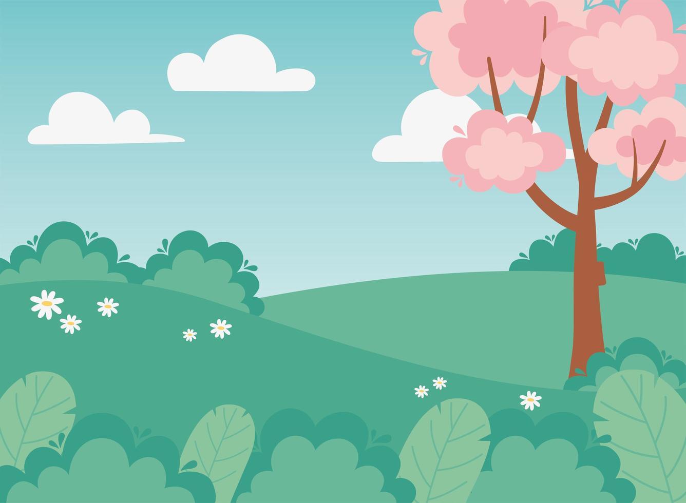 vegetación del paisaje, flores, arbustos, campo y árbol vector