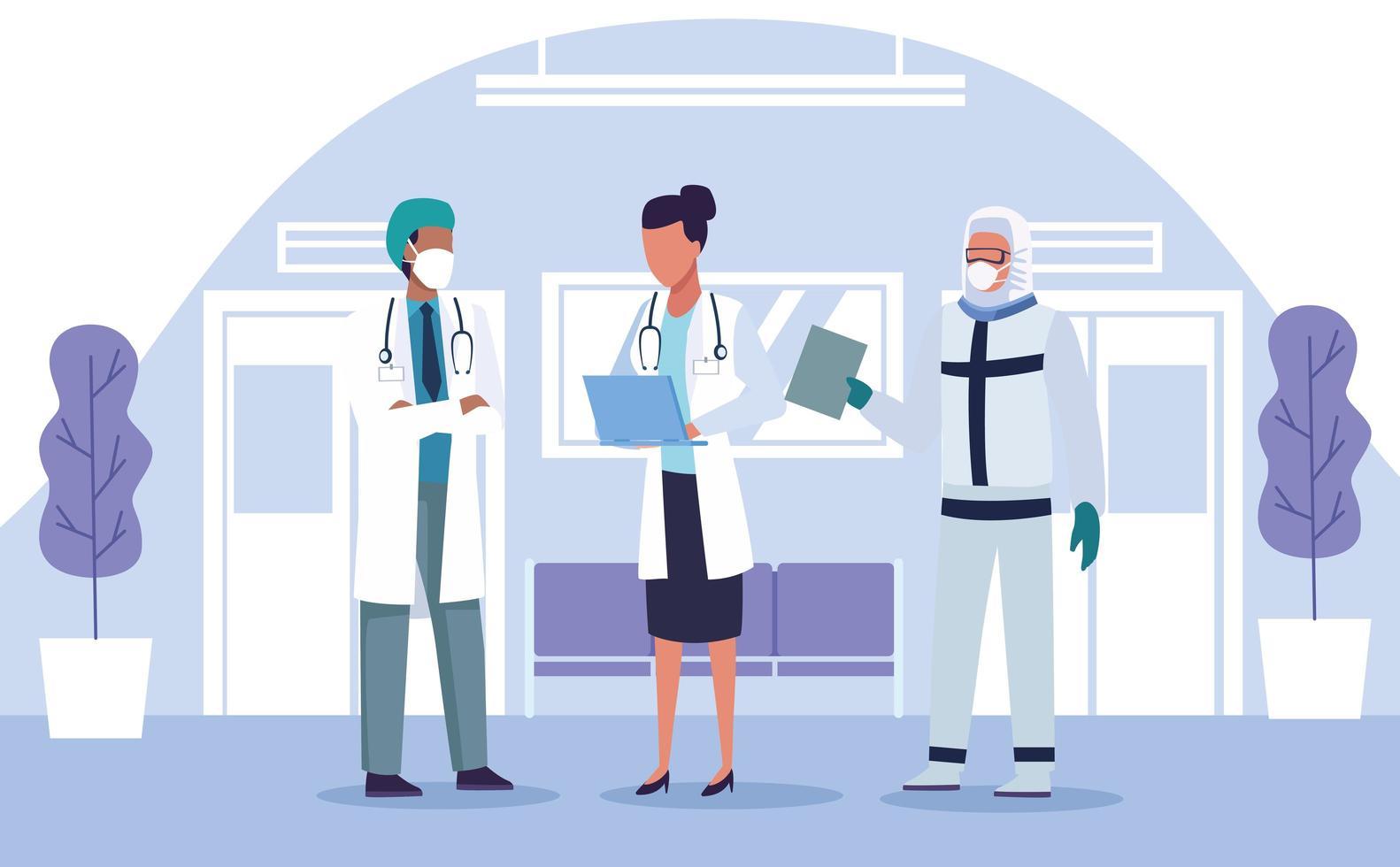 tres doctores en equipo de protección. vector