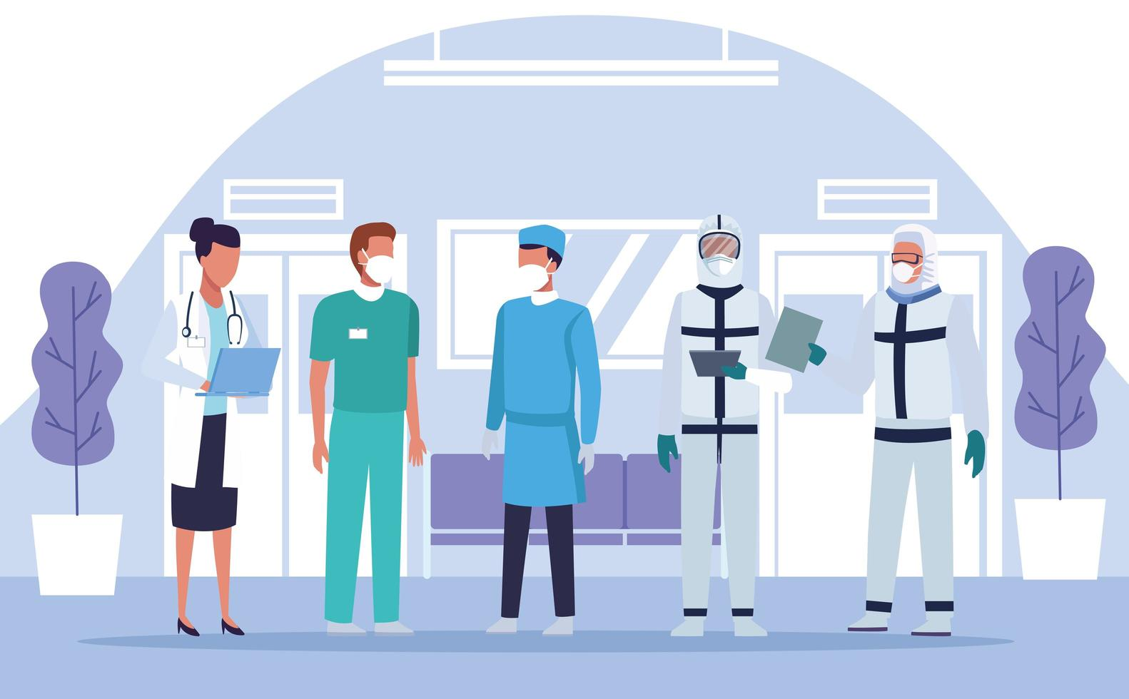 Grupo de médicos, personal con máscaras en el hospital. vector