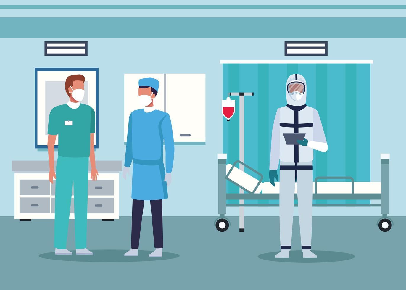 grupo de médicos en equipo de protección vector