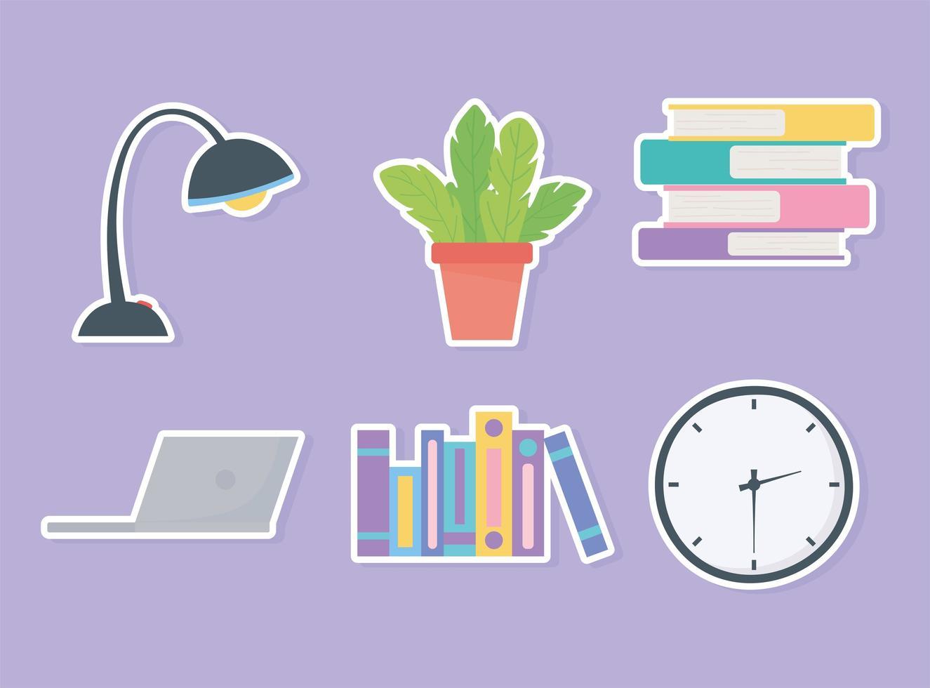 conjunto de elementos interiores del espacio de trabajo de oficina vector