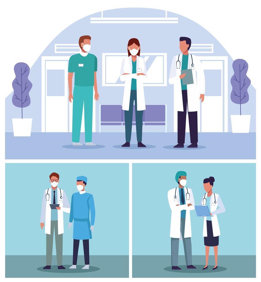 Set of doctors wearing face masks in hospital scenes. vector
