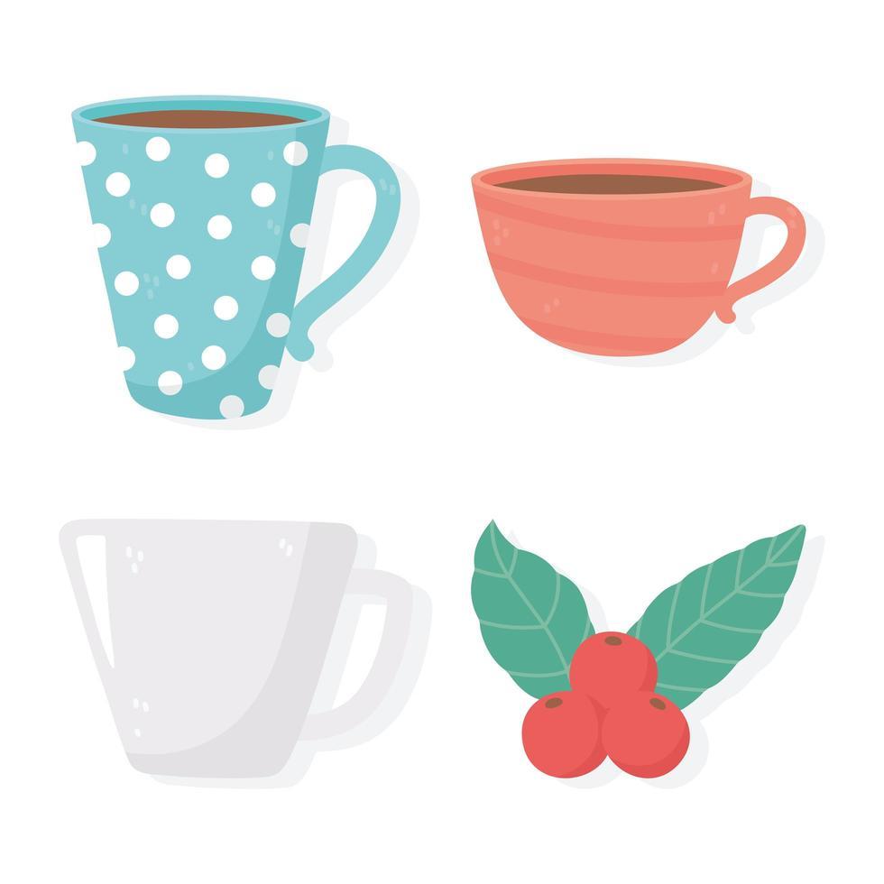 Conjunto de diferentes iconos de tazas y semillas de cerámica vector