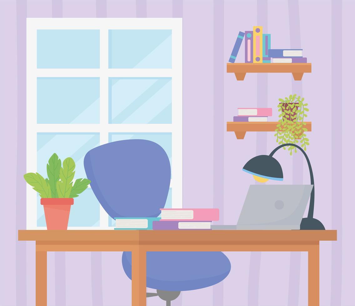 Cute workspace interior vector