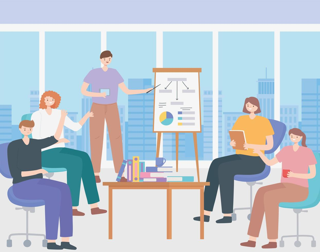 concepto de coworking con personas en una presentación de reunión vector