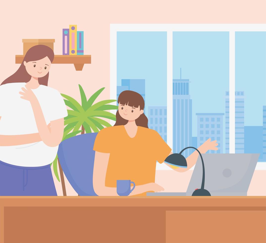 concepto de coworking con mujeres que trabajan juntas vector