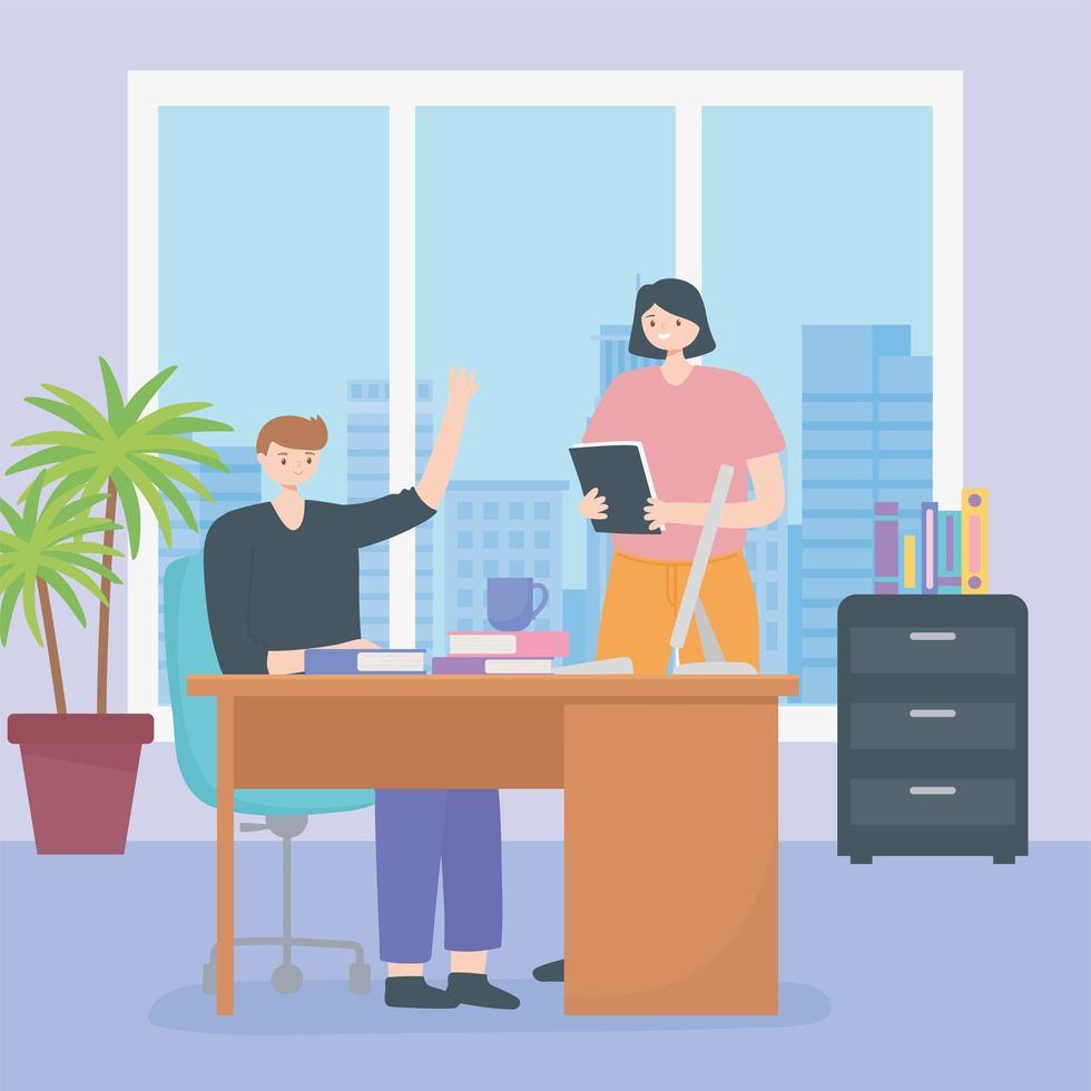 concepto de coworking con personas en el mismo espacio de trabajo vector