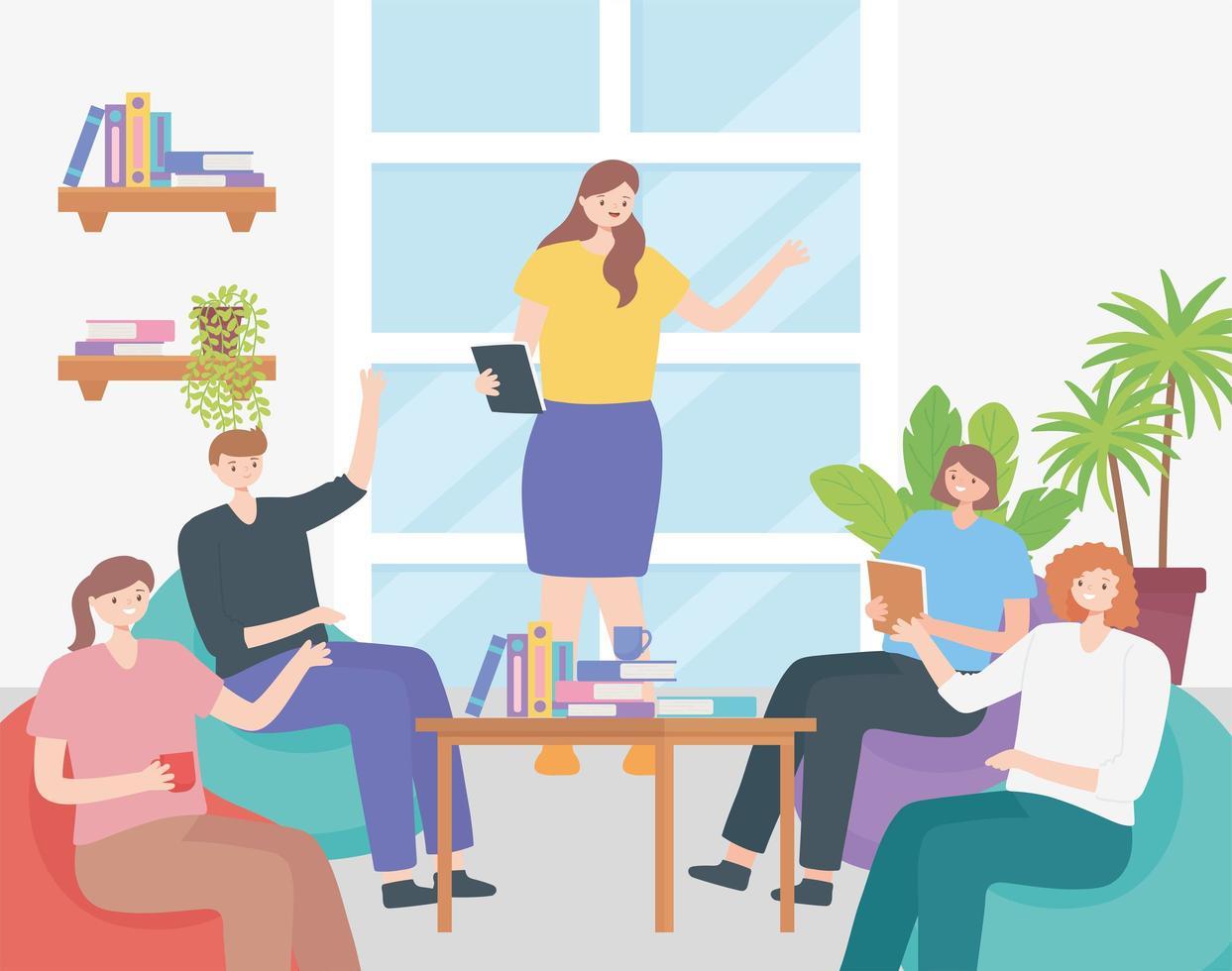 concepto de coworking con personas en una reunión vector